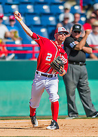7 March 2016: Washington Nationals infielder Brendan Ryan gets an out in the 7th inning during a Spring Training pre-season game against the Miami Marlins at Space Coast Stadium in Viera, Florida. The Nationals defeated the Marlins 7-4 in Grapefruit League play. Mandatory Credit: Ed Wolfstein Photo *** RAW (NEF) Image File Available ***