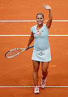 Slovakia's player Dominika Cibulkova celebrate victory against Serbia's player Bojana Jovanovska, during the World Group play-off Fed Cup match in Bratislava, Slovakia, Saturday, Apr. 16, 2011. (Srdjan Stevanovic/Starsportphoto ©).
