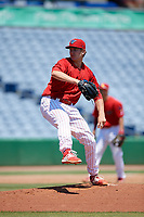 Clearwater Threshers starting pitcher Damon Jones (55) during a Florida State League game against the Florida Fire Frogs on April 24, 2019 at Spectrum Field in Clearwater, Florida.  Clearwater defeated Florida 13-1.  (Mike Janes/Four Seam Images)