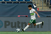 FOXBOROUGH, MA - AUGUST 26: Cesar Murillo #4 of Greenville Triumph SC passes the ball during a game between Greenville Triumph SC and New England Revolution II at Gillette Stadium on August 26, 2020 in Foxborough, Massachusetts.