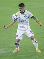 LOS ANGELES, CA - SEPTEMBER 13: Felipe Mora #9 of the Portland Timbers traps a ball during a game between Portland Timbers and Los Angeles FC at Banc of California stadium on September 13, 2020 in Los Angeles, California.