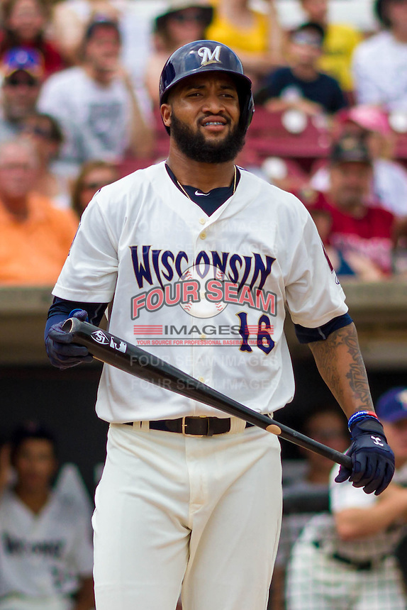 Milwaukee Brewers outfielder Domingo Santana (16)  during a rehab appearance with the Wisconsin Timber Rattlers in a Midwest League game against the Lake County Captains on July 24, 2016 at Fox Cities Stadium in Appleton, Wisconsin. Lake County defeated Wisconsin 6-2. (Brad Krause/Four Seam Images)