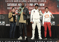LAS VEGAS - NOVEMBER 20:  Leo Santa Cruz, Deontay Wilder, Luis Ortiz and Miguel Flores attend the final press conference for their November 23 fight on the Fox Sports PBC Pay-Per-View fight night on September 20, 2019 in. Las Vegas, Nevada. (Photo by Scott Kirkland/Fox Sports/PictureGroup)