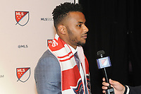 Philadelphia, PA - Thursday January 19, 2018: Mo Adams during the 2018 MLS SuperDraft at the Pennsylvania Convention Center.