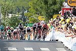 The chasing pack approach the finish line of Stage 3 and takes the Yellow Jersey of the 2019 Tour de France running 215km from Binche, Belgium to Epernay, France. 8th July 2019.<br /> Picture: Colin Flockton | Cyclefile<br /> All photos usage must carry mandatory copyright credit (© Cyclefile | Colin Flockton)