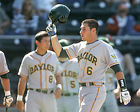 Baylor 2B Raynor Campbell celebrates scorings against Texas on May 3rd, 2008. Photo by Andrew Woolley / Four Seam Images