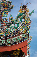 George Town, Penang, Malaysia.   Dragon in Roof Decoration, Khoo Kongsi, a Hokkien Chinese Temple and Clan House.
