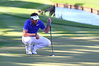 Scott Jamieson eyes up his putt at the 18th green during the BMW PGA Golf Championship at Wentworth Golf Course, Wentworth Drive, Virginia Water, England on 26 May 2017. Photo by Steve McCarthy/PRiME Media Images.