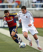 Dema Kovalenko #21 of Real Salt Lake & Marc Burch #4 of DC United in the DC United @ Real Salt Lake 0-4 Real Salt Lake victory at Rice-Eccles Stadium in Salt Lake City, Utah on April 12, 2008