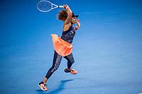 20th February 2021, Melbourne, Victoria, Australia; Naomi Osaka of Japan returns the ball during the Women's Singles Final of the 2021 Australian Open on February 20 2021, at Melbourne Park in Melbourne, Australia.