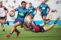 March 14th 2020, Eden Park, Auckland, New Zealand;  Blues Sam Nock breaks a tackle during the Super Rugby match between the Blues and the Lions, held at Eden Park, Auckland, New Zealand.