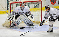 3 January 2009: Colgate Raiders' goaltender Alex Evin, a Freshman from Castlegar, B.C., in action against the Ferris State Bulldogs during the consolation game of the 2009 Catamount Cup Ice Hockey Tournament hosted by the University of Vermont at Gutterson Fieldhouse in Burlington, Vermont. The two teams battled to a 3-3 draw, with the Bulldogs winning a post-game shootout 2-1, thus placing them third in the tournament...Mandatory Photo Credit: Ed Wolfstein Photo