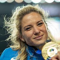 2nd May 2021; Silesian Stadium, Chorzow, Poland; World Athletics Relays 2021. Day 2; Italian sprinter Anna Bongiorni celebrates her gold medal from the women's 4 x 100 final