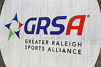 CARY, NC - FEBRUARY 23: Greater Raleigh Sports Alliance logo during a game between Wagner and Penn State at Coleman Field at USA Baseball National Training Complex on February 23, 2020 in Cary, North Carolina.