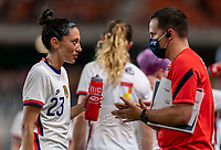 HOUSTON, TX - JUNE 10: Christen Press #23 of the USWNT talks with Milan Ivanovic during a game between Portugal and USWNT at BBVA Stadium on June 10, 2021 in Houston, Texas.