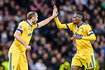 Blaise Matuidi of Juventus (R) celebrates with Giorgio Chiellini of Juventus (L) during the UEFA Champions League 2017-18 quarter-finals (2nd leg) match between Real Madrid and Juventus at Estadio Santiago Bernabeu on 11 April 2018 in Madrid, Spain. Photo by Diego Souto / Power Sport Images