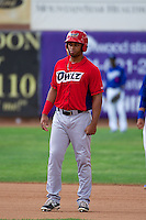 Natanael Delgado (24) of the Orem Owlz during the game against the Ogden Raptors in Pioneer League action at Lindquist Field on June 27, 2014 in Ogden, Utah.  (Stephen Smith/Four Seam Images)