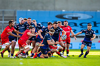 9th September 2020; AJ Bell Stadium, Salford, Lancashire, England; English Premiership Rugby, Sale Sharks versus Sracens; Dan du Preez passes the ball to Will Cliff of Sale Sharks