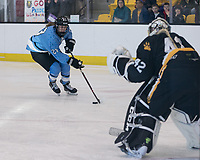 Brighton, Massachusetts - February 18, 2018:  In a National Women's Hockey League (NWHL) game, Buffalo Beauts (blue) defeated Boston Pride (black), 6-2, at Warrior Ice Arena.