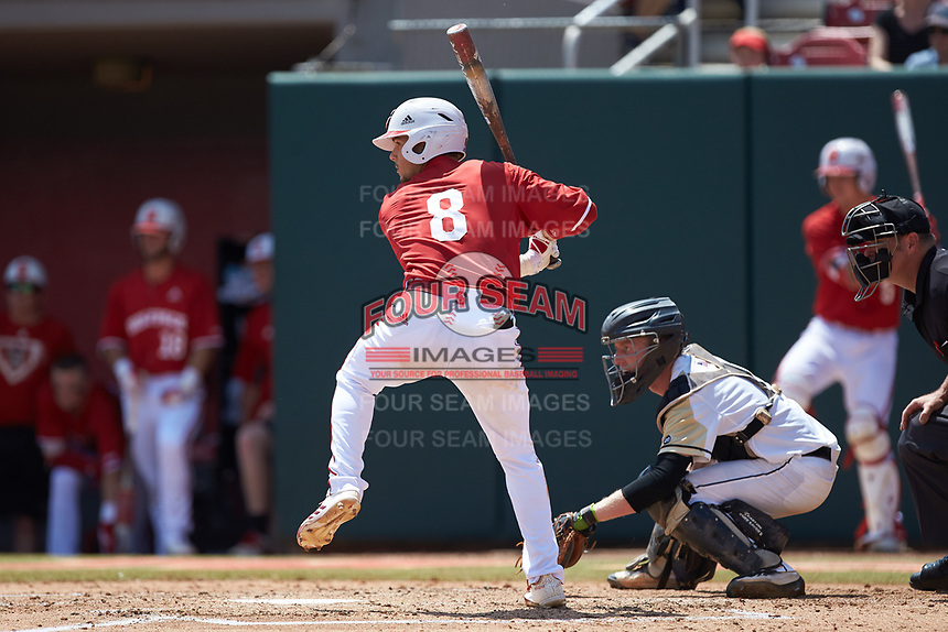 Will Wilson (8) of the North Carolina State Wolfpack at bat against the Army Black Knights at Doak Field at Dail Park on June 3, 2018 in Raleigh, North Carolina. The Wolfpack defeated the Black Knights 11-1. (Brian Westerholt/Four Seam Images)