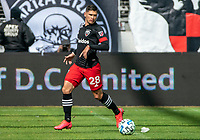 WASHINGTON, DC - FEBRUARY 29: Joseph Mora #28 of DC United on the ball during a game between Colorado Rapids and D.C. United at Audi Field on February 29, 2020 in Washington, DC.