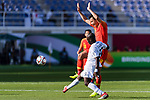 Gao Lin of China (R) competes for the ball with Daniel Tagoe of Kyrgyz Republic (L) during the AFC Asian Cup UAE 2019 Group C match between China (CHN) and Kyrgyz Republic (KGZ) at Khalifa Bin Zayed Stadium on 07 January 2019 in Al Ain, United Arab Emirates. Photo by Marcio Rodrigo Machado / Power Sport Images