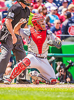 14 April 2013: Atlanta Braves catcher Evan Gattis in action against the Washington Nationals at Nationals Park in Washington, DC. The Braves shut out the Nationals 9-0 to sweep their 3-game series. Mandatory Credit: Ed Wolfstein Photo *** RAW (NEF) Image File Available ***