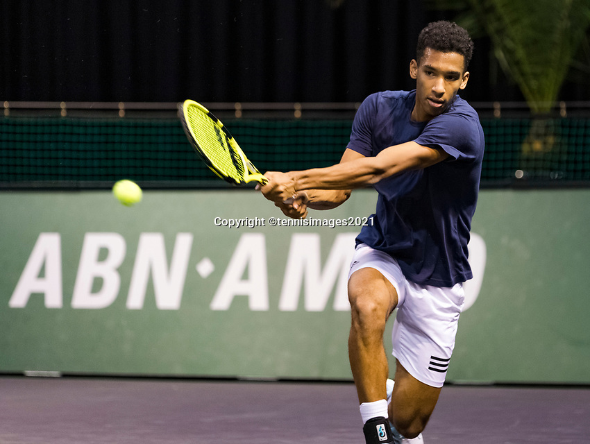 Rotterdam, The Netherlands, 28 Februari 2021, ABNAMRO World Tennis Tournament, Ahoy, Practice. Felix Auger-Aliassime (CAN).<br /> Photo: www.tennisimages.com