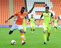 Blackpool's Jamille Matt under pressure from Exeter City's Jordan Moore-Taylor<br /> <br /> Photographer Kevin Barnes/CameraSport<br /> <br /> Football - The EFL Sky Bet League Two - Blackpool v Exeter City - Saturday 6th August 2016 - Bloomfield Road - Blackpool<br /> <br /> World Copyright © 2016 CameraSport. All rights reserved. 43 Linden Ave. Countesthorpe. Leicester. England. LE8 5PG - Tel: +44 (0) 116 277 4147 - admin@camerasport.com - www.camerasport.com