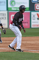 Wisconsin Timber Rattlers outfielder Monte Harrison (3) takes his lead off third base during a Midwest League game against the Kane County Cougars on May 16th, 2015 at Fox Cities Stadium in Appleton, Wisconsin.  Kane County defeated Wisconsin 4-2.  (Brad Krause/Four Seam Images)