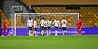 13th October 2020; Molineux Stadium, Wolverhampton, West Midlands, England; UEFA Under 21 European Championship Qualifiers, Group Three, England Under 21 versus Turkey Under 21; The England team celebrates as Turkey's Türkmen deflects a shot into his own net for 1-0 in the 17th minute