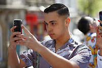 Pictured: Singer Shaheen Jafargholi. Saturday 04 May 2019<br /> Re: Swansea Pride Parade in south Wales, UK.