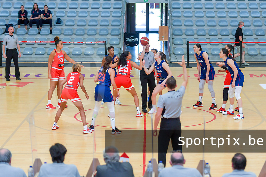 starting the basketball game between the national teams of Puerto Rico and Serbia on Sunday 30 th of May 2021 in Kortrijk , Belgium . PHOTO SPORTPIX.BE | SPP | STIJN AUDOOREN