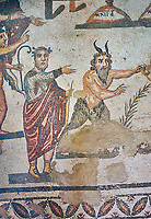 Close up detail of the Roman mosaics of the Vestibule of Eros & Pan depicting Pan, room no 43  at the Villa Romana del Casale, first quarter of the 4th century AD. Sicily, Italy. A UNESCO World Heritage Site.<br /> <br /> The Vestibule of Eros and Pan Roman floor mosaic at the Villa Romana del Casale depicts a scene that is intended to show how difficult it is for someone like Pan , who is ugly but has a good heart, to conquer love, represented by Eros. Between the two divinities are a palm leaf and a coin symbolising the prizes to be awarded to the winner of the contest.