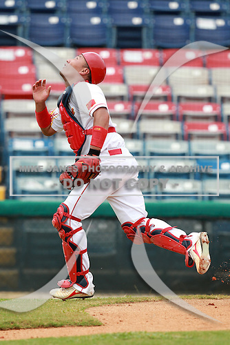 Catcher Wang Wei (56) of the China National Team during a game vs. the Houston Astros Instructional League team at Holman Stadium in Vero Beach, Florida September 28, 2010.   China is in Florida training for the Asia games which will be played in Guangzhou, China in November.  Photo By Mike Janes/Four Seam Images