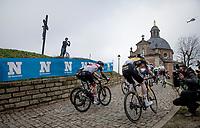 up the Kapelmuur / Muur van Geraardsbergen<br /> <br /> 76th Omloop Het Nieuwsblad 2021<br /> ME(1.UWT)<br /> 1 day race from Ghent to Ninove (BEL): 200km<br /> <br /> ©kramon