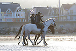 August 15, 2021, Deauville (France) - Horses at the beach in Deauville. [Copyright (c) Sandra Scherning/Eclipse Sportswire)]