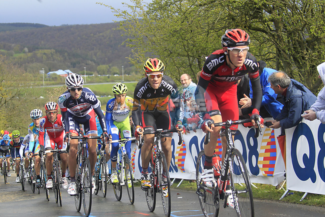 Belgian National Champion Philippe Gilbert (BEL) and Tejay Van Garderen (USA) BMC Racing Team with Jelle Vanendert (BEL) Lotto-Belisol Team and Vincenzo Nibali (ITA) Liquigas-Cannondale lead the peloton up the Cote de la Redoute during the 98th edition of Liege-Bastogne-Liege, running 257.5km from Liege to Ans, Belgium. 22nd April 2012.  <br /> (Photo by Eoin Clarke/NEWSFILE).