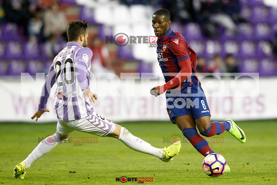 Real Valladolid's Alberto Guitian (l) and Levante UD's Jefferson Lerma during La Liga Second Division match. March 11,2017. (ALTERPHOTOS/Acero) /NortePhoto.com