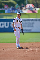Zach Houchins (5) of the Salt Lake Bees takes a lead at second base during the game against the Fresno Grizzlies at Smith's Ballpark on September 4, 2017 in Salt Lake City, Utah. Fresno defeated Salt Lake 9-7. (Stephen Smith/Four Seam Images)