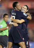 Shannon Boxx of USA (left) celebrates with Yael Averbuch (right).. USWNT defeated Costa Rica 4-0 in the 2010 CONCACAF Women's World Cup Qualifying tournament held at Estadio Quintana Roo in Cancun, Mexico on November 1st, 2010.