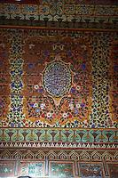 Berber Arabesque painted ceiling panels.The Grand Court, Bahia Palace, Marrakesh, Morroco
