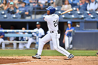 Asheville Tourists left fielder Daniel Montano (24) swings at a pitch during a game against the Augusta GreenJackets at McCormick Field on April 7, 2019 in Asheville, North Carolina. The GreenJackets  defeated the Tourists 11-2. (Tony Farlow/Four Seam Images)