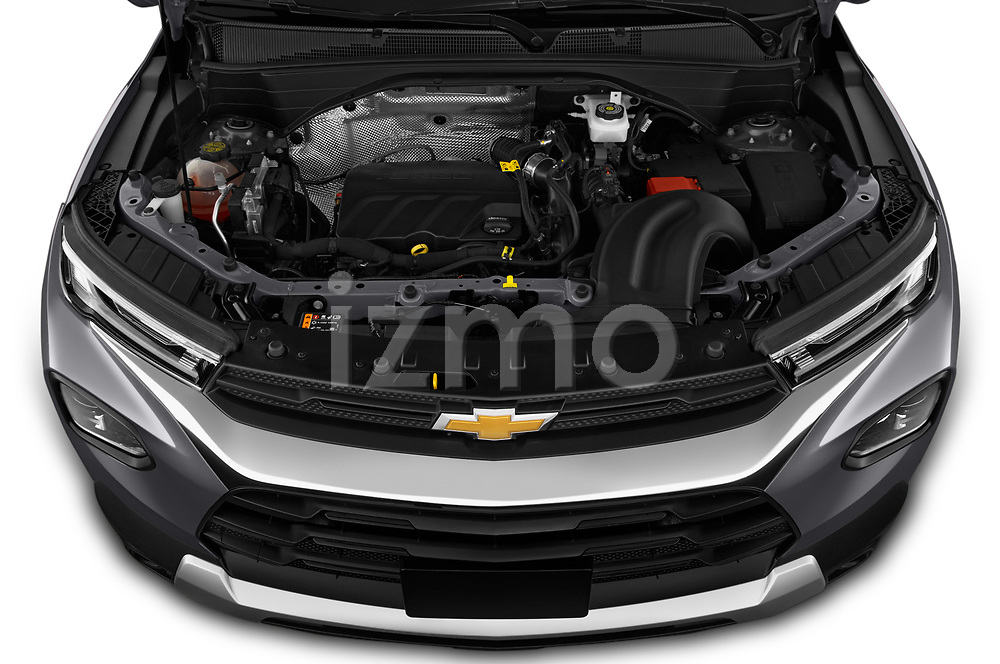 Car Stock 2021 Chevrolet Trailblazer LT 5 Door SUV Engine  high angle detail view