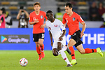 Almoez Ali of Qatar (L) fights for the ball with Ji Dongwon of South Korea (R) during the AFC Asian Cup UAE 2019 Quarter Finals match between Qatar (QAT) and South Korea (KOR) at Zayed Sports City Stadium  on 25 January 2019 in Abu Dhabi, United Arab Emirates. Photo by Marcio Rodrigo Machado / Power Sport Images