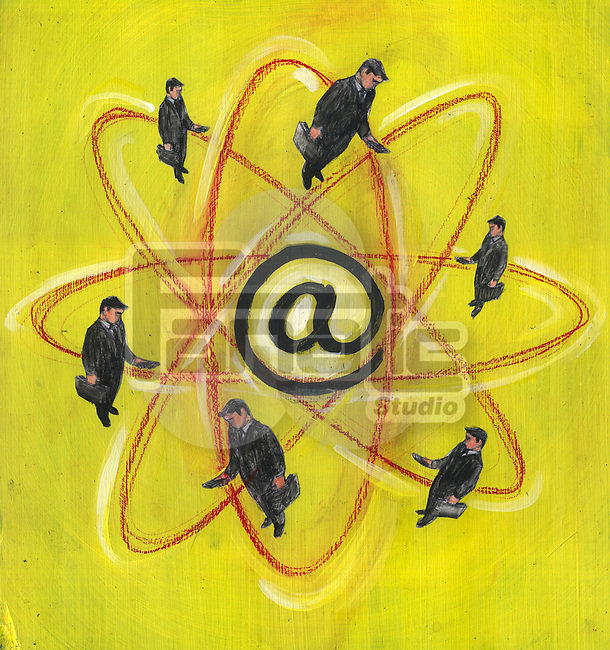 Illustration of businesspeople around science and technology logo with 'at' symbol