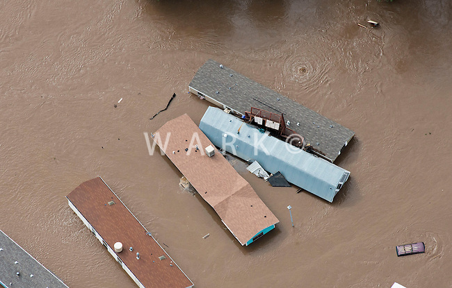 Trailer homes destroyed by flooding of South Platte River.