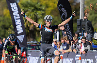 Connor Brown (Counties Manukau Cycling) wins the Under-23 and Senior Men's road race, Carterton-Martinborough-Gladstone circuit, on day two of the 2018 NZ Age Group Road Cycling Championships in Carterton, New Zealand on Sunday, 22 April 2018. Photo: Dave Lintott / lintottphoto.co.nz
