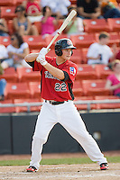 Matt West #22 of the Hickory Crawdads at bat against the Rome Braves at  L.P. Frans Stadium May 23, 2010, in Hickory, North Carolina.  The Rome Braves defeated the Hickory Crawdads 5-1.  Photo by Brian Westerholt / Four Seam Images