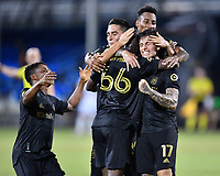LAKE BUENA VISTA, FL - JULY 18: Bradley Wright-Phillips #66 of LAFC celebrates his goal with teammates Eduard Atuesta #20, Brian Rodríguez #17, Mark-Anthony Kaye #14 during a game between Los Angeles Galaxy and Los Angeles FC at ESPN Wide World of Sports on July 18, 2020 in Lake Buena Vista, Florida.